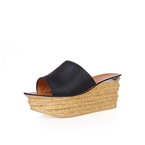 Heart&M Zapatos de cuero genuino de la cuña del talón de la mujer suela gruesa del mollete de la plataforma del talón sandalias de los deslizadores de la playa Black