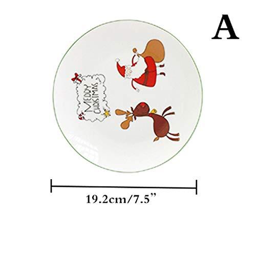 2017 Christmas Gift Tableware Hand-painted Ceramic Plate Steak Dinner Dish Children Baby Food Fruit Cake Plate,A