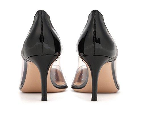 Taille Femme Enfiler Edefs Sandales Black Transparent Soirée À Aiguille Chaussure Stiletto Talon Escarpins TAaxPqw