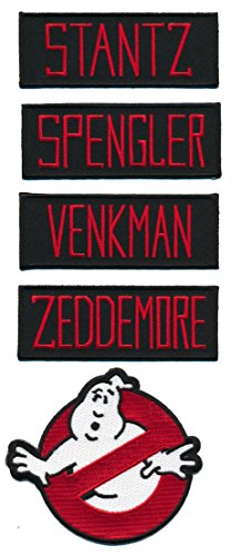 Patch Squad Men's Ghostbusters (8pc) NAME TAG Plus No Ghost Logo Embroidered Patches (Ghostbuster Accessories)