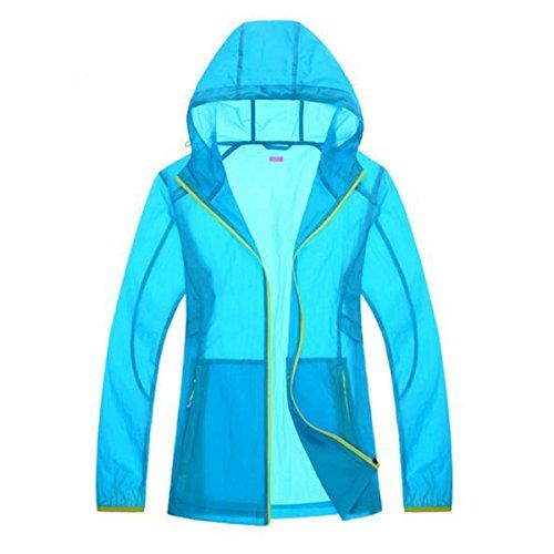 Shuang Yu Zuo Verano Deportes Transpirable Resistente Al Viento El Ocio La Protección UV La Ropa De Protección Solar,Blue-woman-L