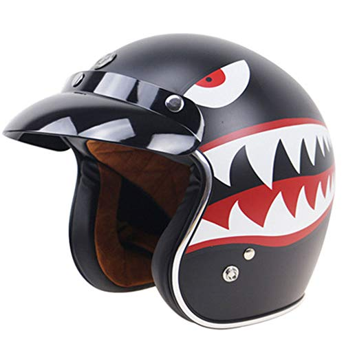 (DYM258 Vintage Harley Half Helmet, 3/4 Open Face Motorcycle DOT Standard Retro Helmet Scooter Jet Helmet with Sun Visor Men and Women Safety Caps,L)