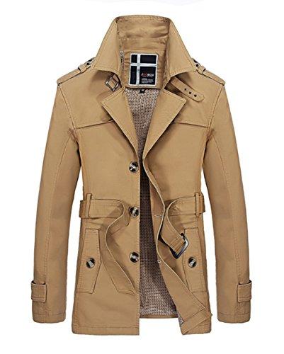 Herren Fall Feder Revers Belted Trench Coat Winbreaker Jacken-Oberbekleidung (3XL, Khaki)