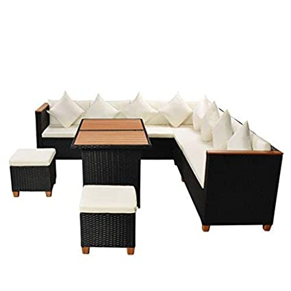 Outdoor Dining Set 29 Pieces Poly Rattan WPC Top Black Patio Lounge Set  Designed To Be