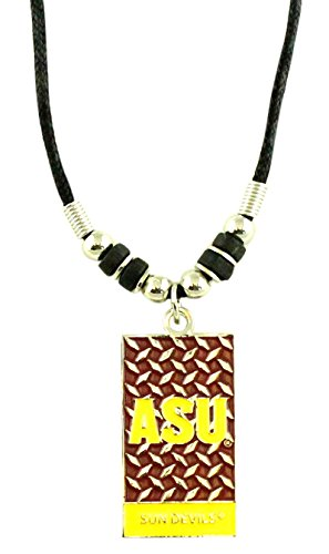 NCAA Arizona State Sun Devils Diamond Plate Rope Necklace, Black, (Arizona State Diamond Plate)