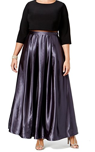 Betsy & Adam Femmes, Plus Popover Soir Pleine Longueur Robe Noire / Prune