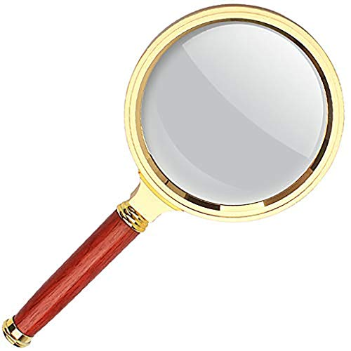 (Blossoming flowers Optical Excellent 20x Magnifier Ultra Clear Metal Mahogany Handle Read Handheld Magnifier 90mm Metal)