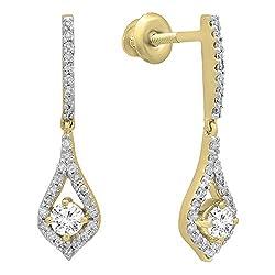 Women's Round White Diamond Dangling Gold Earrings