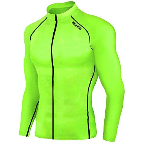 (DRSKIN UV Sun Protection Long Sleeve Top Shirts Skins Tee Rash Guard Compression Base Layer Zip UP UPF 50+ (ZDLG46,)