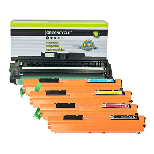 (GREENCYCLE Compatible 126A CE310A CE311A CE312A CE313A CE314A Toner Cartridge & Drum Unit for Laserjet Pro 100 MFP M175a M175nw M275 M275nw CP1025 CP1025nw (1 Black/Cyan/Yellow/Magenta Toner, 1 Drum))