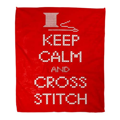 Golee Throw Blanket Needle and Thread Keep Calm Cross Stitch Sampler White 50x60 Inches Warm Fuzzy Soft Blanket for Bed Sofa ()