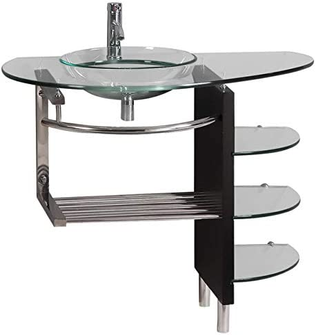 36 Inches Wide Contemporary Bathroom Glass Vessel Sink Vanity Combo Faucet pop-up