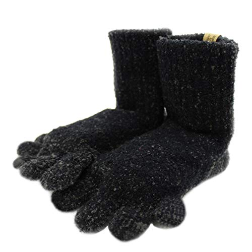 SocksDEPO Made by glove craftsmen Womens Very Warm Fluffy Toe Socks 5 Finger Double Thick Thermal Stretchy Knit