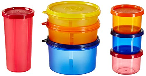 Amazon Brand - Solimo Food Saver Combo - Set of 7 Plastic Lunch Box & Left Over Multi Purpose Containers (535ml x 1… 1