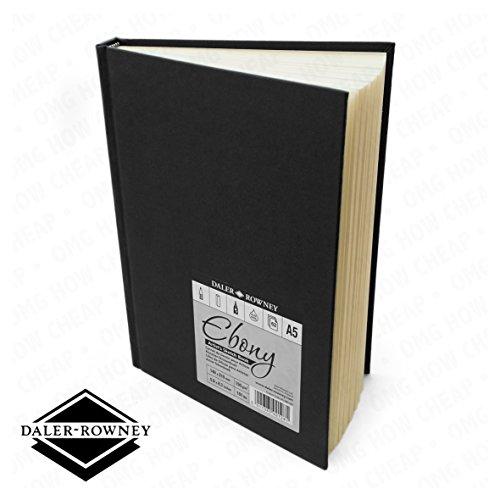 - Daler Rowney - Ebony Artist's Hardback Sketch Book - 150gsm - 62 Pages - A5 Portrait