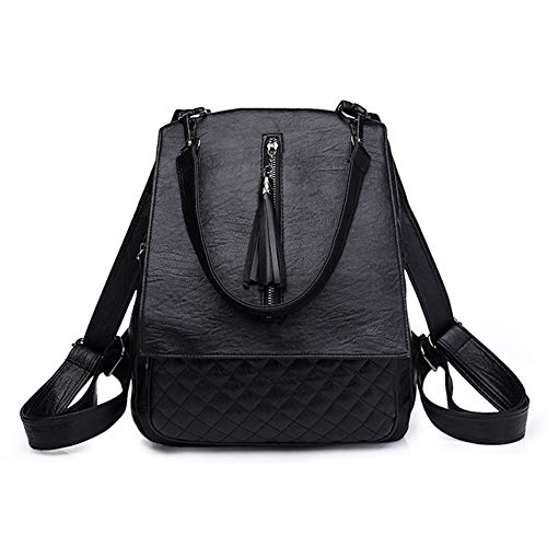 mujer mochila piel DSLONG Bolso sintética para de Negro 5nwf8Hxq8Y