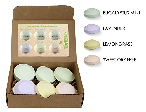 Shower steamer by Sky Organics (pack of 6) with Organic Essential Oils- Spa Shower Melts- Bath Bombs for the shower- Spa experience steam shower - Eucalyptus Steamer