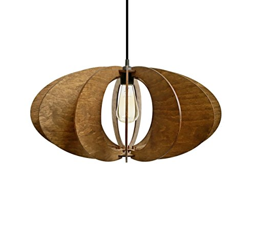 Ceiling Light Provence (Unique pendant lamp for living room, dining room or bedroom - Original design hanging lighting for kitchen islands - Wood ceiling light for minimalistic and modern interior styles ALREADY ASSEMBLED)