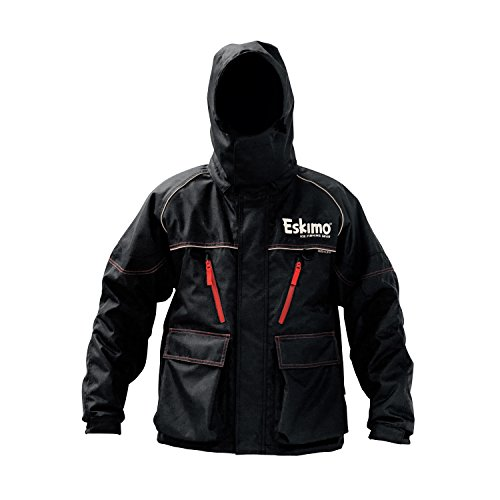 Eskimo Lockout Ice Fishing Jacket, Black, 2XL, Sureflote, 60g Thermadex Insulation, 100% PU Seam Taped, Removable -