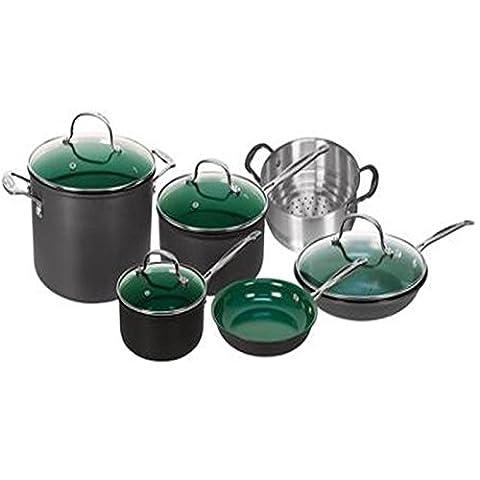 Telebrands Orgreenic 10 Piece Anodized Non Stick Kitchen Cookware Set Pots Pans