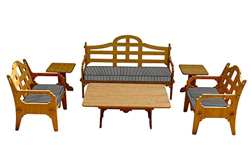 6-Piece Bamboo Sofa Set (1 Sofa, 2 Lounge Chairs, 1 Cocktail table and 2 Small Side tables), 3 Cushions Included, Palladian Style Furniture (Lounge 2 1)