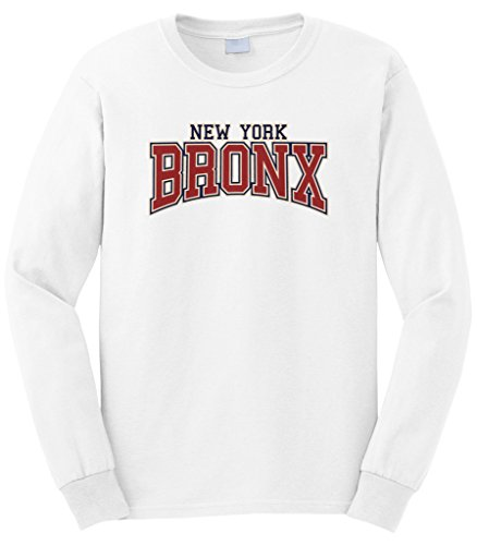 Cybertela Men's New York NY Bronx Long Sleeve T-Shirt (White, Medium)