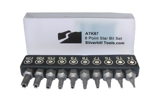 ATK67 6 Point Star Security Bit Set with Security Bits (Torx TR Style with Pin In Hole), for Screwdriver Handle for 1/4 Inch Bits. Tool Sizes T4, T5, T6, T7, T8, T9, T10, T15, T20, T25)