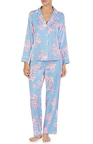 LAUREN RALPH LAUREN Stripe & Floral-Print Sateen Pajamas 62% Cotton 38% Viscose (Blue Stipe, S)