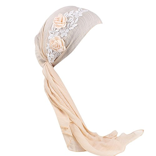 Muslim Stretch Retro Floral Turban Hat Head Scarf Wrap Cancer Chemo Cap for Women/Ladies/Girls (Free Size, Beige)