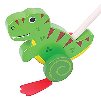 Bigjigs Toys Wooden T-Rex Push Along - Walking Toys for Babies and Toddlers: Toys & Games