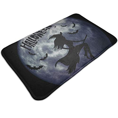 DIDIDI Halloween Silhouette Moon Witch Broom Black Bat Throw Area Ground Mat Accent Floor Carpet Outside Door Set Decor Welcome Entryway Rug Sign Celebrate Decorations Ornament ()