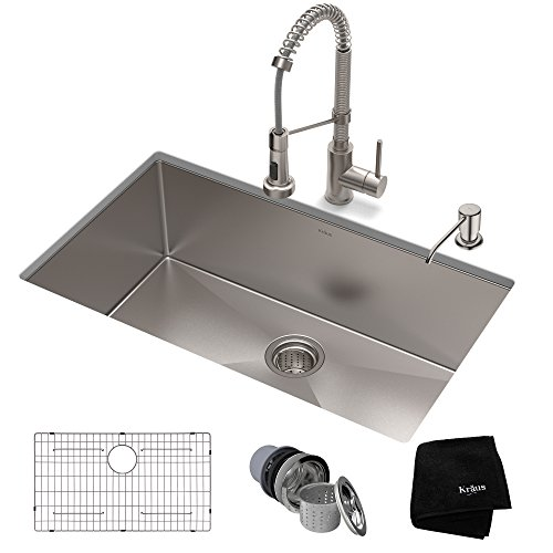 KRAUS KHU100-32-1610-53SS Set with Standart PRO Stainless Steel Sink and Bolden Commercial Pull Faucet Kitchen Sink & Faucet Combo, 32 Inch