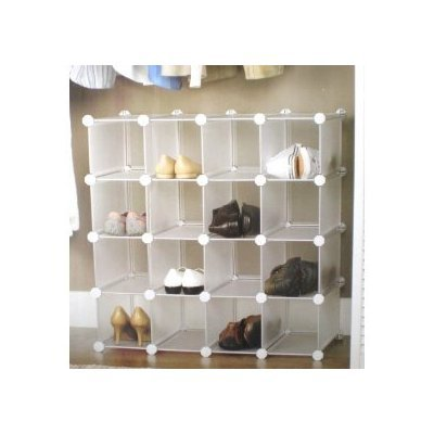 interlocking shoe organizer shoe storage rack for 16 pairs amazon rh amazon co uk