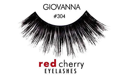 Red Cherry #304 False Eyelashes, Black (Pack of 6 Pairs) (Red Cherry Eyelashes 6 Pairs)