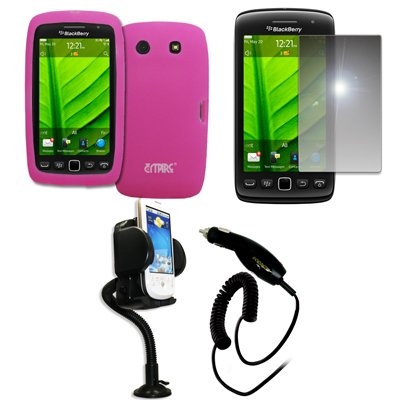 - EMPIRE Hot Pink Silicone Skin Case Cover + 360 Degree Rotatable Car Windshield Mount with Air Vent Attachment + Mirror Screen Protector + Car Charger (CLA) for BlackBerry Torch 9850