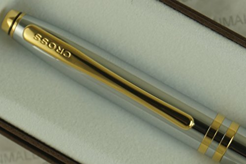 (Cross Classic Executive Companion Avatar Medalist with 23KT Gold Appointment, Extremely Polished Chrome Barrel with Distinctive Gold Cross Signature Double Mid Rings, Medium Ballpoint)