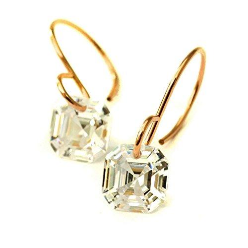 Asscher cut cubic zirconia earrings 14kt rose gold-filled V2