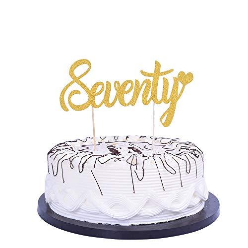 YUINYO Gold 70th Birthday Anniversary Wedding Party Decoration Ideas -Seventy-70th Birthday Cake Topper Decoration -Birthday Party Decoration Supplies Party -