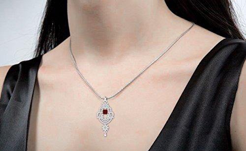 Libertini pendentif argent 925 femme serti de Diamant et Rubis