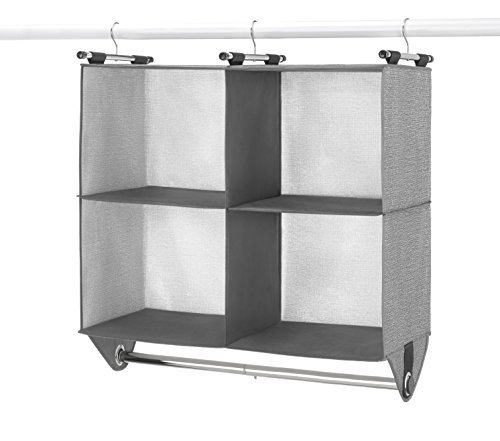 (Whitmor 4 Section Fabric Closet Organizer Shelving with Built In Chrome Garment Rod)