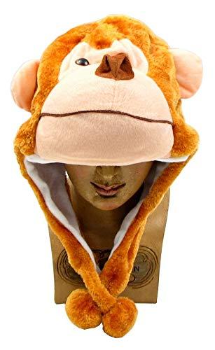 Monkey Plush Hat for Kids Character Cap Boys Girls Halloween Head Cover Fun Furry Soft Fabric Animal Stuffed Figure Birthday Ideas -