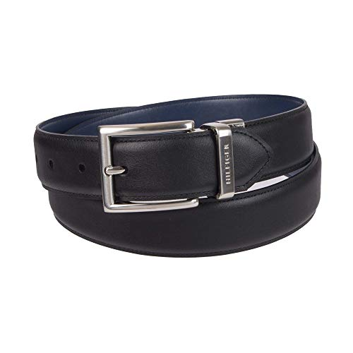 (Tommy Hilfiger Reversible Leather Belt - Casual for Mens Jeans with Double Sided Strap and Silver Buckle , Black/Navy, 36)