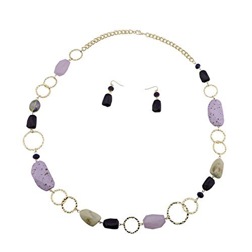 Bocar Fashion Long Chunky Crystal Beads Necklace and Earrings Set for Women Gift