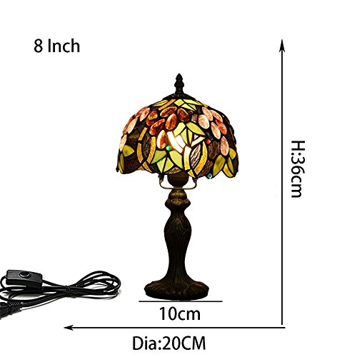EuSolis E26 Tiffany Traditional Bedside and Table Lamps Handcrafted 8 Inch Flowers Stained Glass Luxury Bedside Lamps European Lamps for Living Room Bedroom Vintage 01 by EuSolis (Image #2)