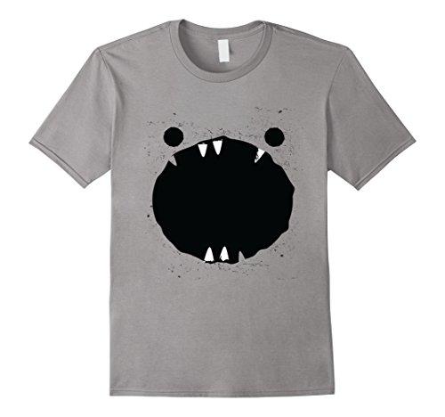 Easy Costumes Pun (Mens Funny Black Monster Jaws Halloween Easy Costume T-Shirt Medium)