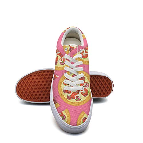 fvnoui Women'sDelicious Pizza Pink Backdrop Canvas Shoes Low-Cut Straps Funky Sneakers Suitable for Walking