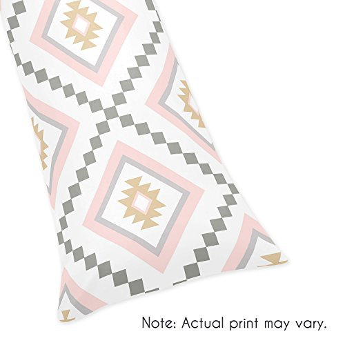 Sweet JoJo Designs Blush Pink and Grey Boho Body Pillow Case Cover for Aztec Collection (Pillow Not Included)