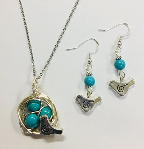 Robins Nest or Bird's Nest Pendant & Earring Set - with 3 Turquoise Eggs on a 24 inch stainless steel link (Robin Bird Nest)