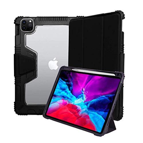 ProElite Rugged Shockproof Armor Smart flip case Cover for Apple iPad Pro 12.9 inch 2020/2018 with Pencil Holder