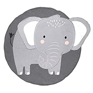 Nursery Elephant Kids Rug Baby Room Childrens Floor Area Rug Mat 100% Cotton Baby Crawling Mat Round Infants School Carpet Decor, Gray